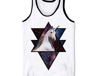 Unicorn In Space Tank Top Vest Cosmic Galaxy Triangle Abstract Mythical Holiday Low Cut Vest