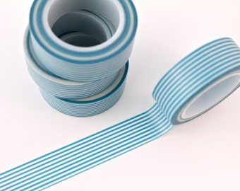 Washi Tape - 1 Roll of Blue and White Horizontal Striped Washi Tape