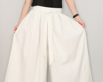 Linen pants Women White palazzo pants Wide leg pant skirt
