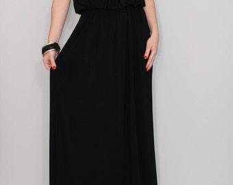 Long black dress Maxi dress Black bridesmaid dress