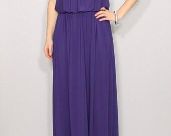 Purple Bridesmaid dress maxi dress Spaghetti strap dress