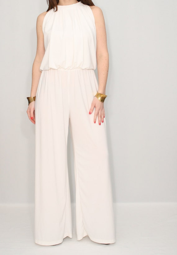 Ivory jumpsuit off white pant suit Wide leg jumpsuit by dresslike