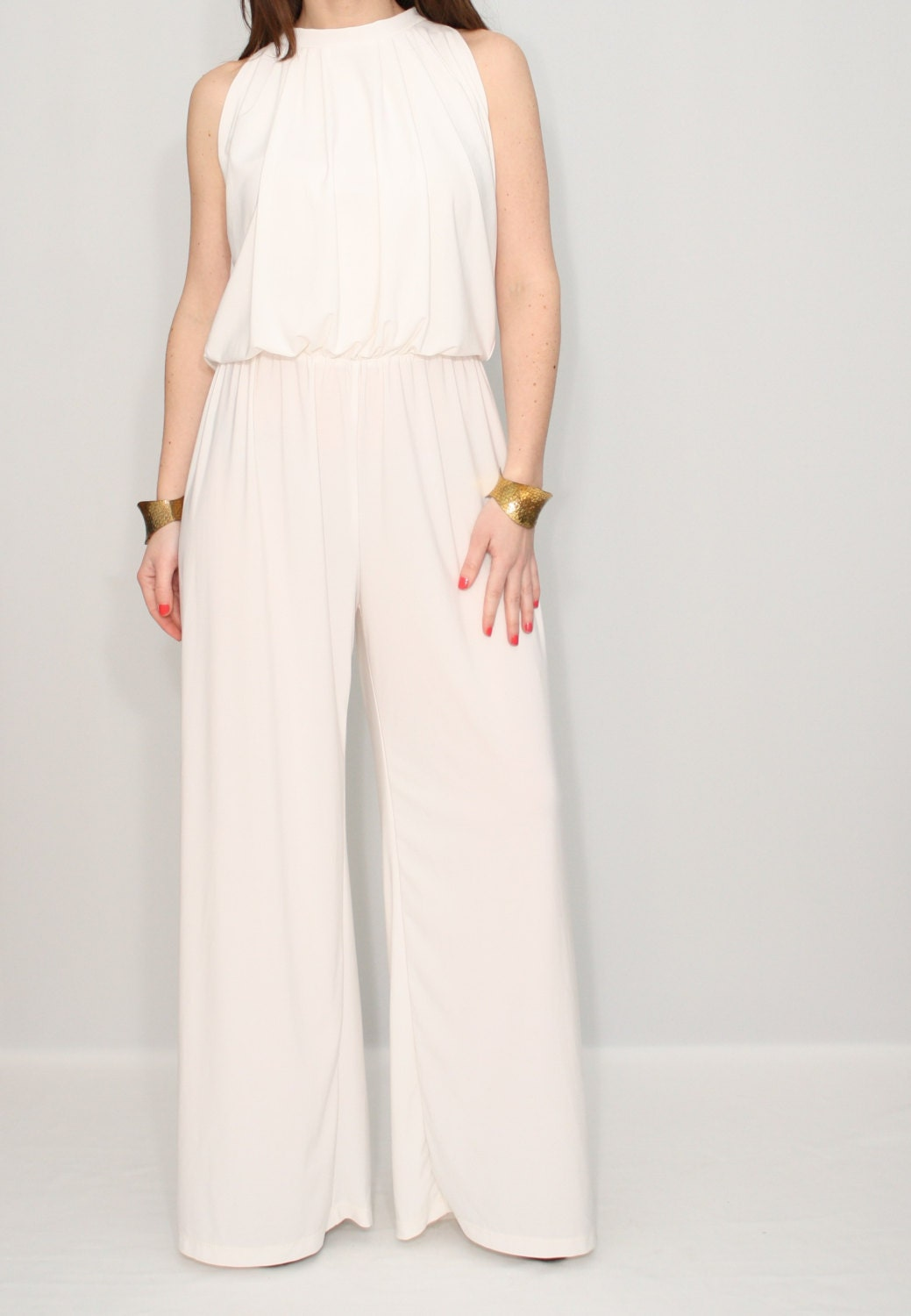 Ivory jumpsuit off white pant suit Wide leg jumpsuit Halter