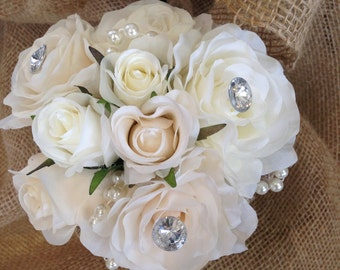 Beautiful Vintage Inspired Silk Rose Bridesmaid Bouquet.
