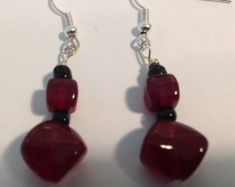 Ruby red with black earrings