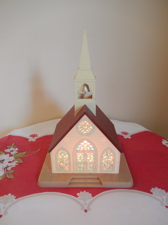 Vintage christmas church light alpine village vintage for Alpine decoration