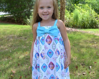 Elsa Anna Frozen Dress with Bow A6-12month, 12-18month, 18-24month, 3T, 4T, 5T, 6, 7, American Girl Doll, Bitty Baby