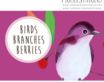 Bird Clipart - Birds, Berries & Branches Digital Clip Art - Designer Resources - Birds and Trees - Instant Download