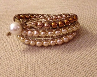 Triple Golden Pearl Wrap Bracelet