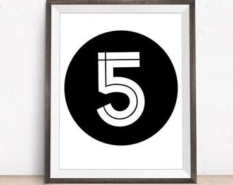 Number 5, Five, Number Prints, Number Wall Art, Digital Art, Five Year Old, Nursery Numbers, Minimalist Art, Black and White