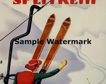 Ski Skiing Flexible Flyer Splitkein Winter Sport Vintage Poster Repro Free S/H in USA