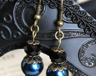 Navy Blue and Black Gothic Victorian Style Earrings
