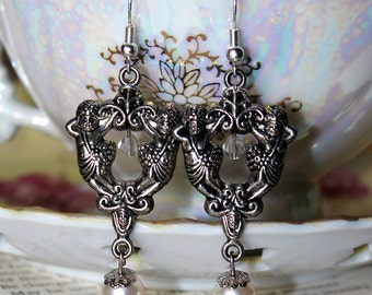 Antique White & Antiqued Silver Cherubim Earrings