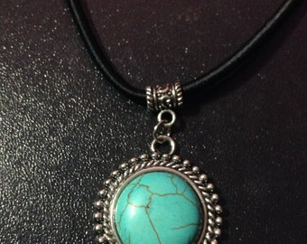 Turquoise Pendant on Black Cord Necklace