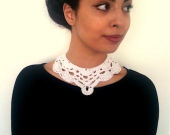 White crochet vintage necklace art