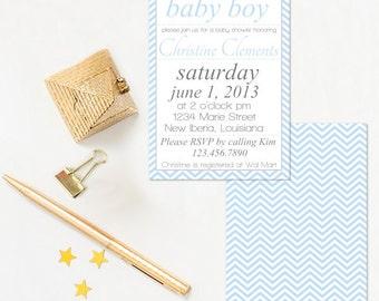 Baby Shower Invitation - Blue Baby Shower Invitation - Boy Baby Shower Invitation - Lovely Chervons Invitation - Digital