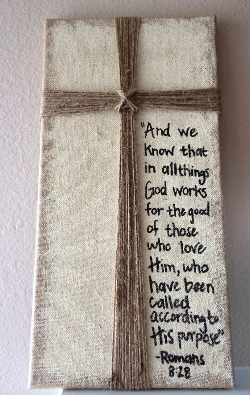 Burlap Frame With Cross Design And Quote Or By