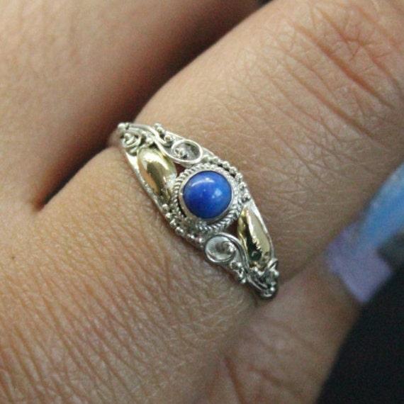 Vintage Lapis Lazuli 14k Gold Plated Silver Ring | Vintage Silver Ring | Midi Ring | Thin Ring | Lapis Lazuli Ring
