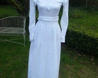 Iconic Laura Ashley 1970s Victorian Style Maxi Wedding Dress. Made in Carno Wales
