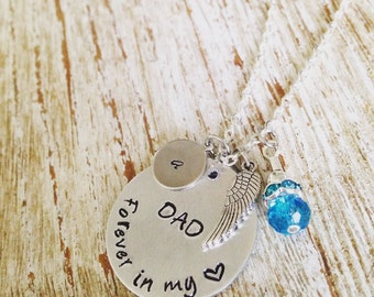Personalized Remembrance necklace/ Forever in my heart, angel wing & blue bead charms / Dad or Mom / Memorial jewelry / Remembrance necklace