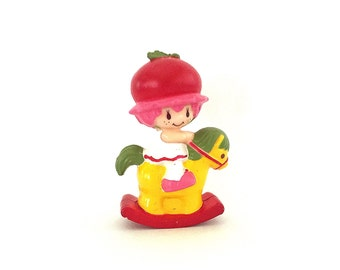 Cherry Cuddler on a Rocking Horse | Strawberry Shortcake Plastic Figurine | Vintage 1980s PVC Strawberryland Miniatures | Retro Kenner Toy |