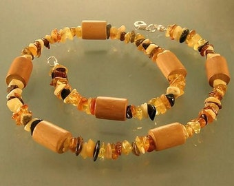Baltic amber wooden necklace, amber necklace, amber jewelry, amber wood necklace, baltic amber wood, wood amber jewelry, jewelry for women