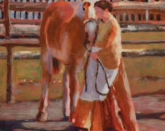 In the Lead, Oil Painting, Oil Print, Horse, Woman, Pioneer, Home Art