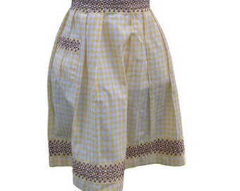 Vintage Ladies Apron - Yellow Gingham with brown cross-stitching (#2)