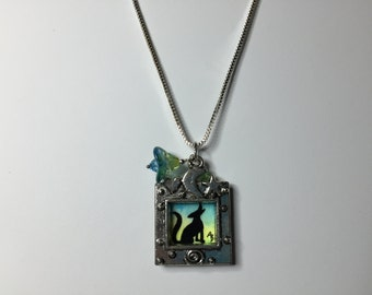 Morning Coyote Silhouette - Original Mini Watercolor Painting Necklace