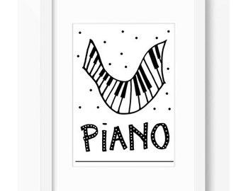 PIANO BLACK and WHITE Illustration Music Affiche Print Modern Art Decor Wall Decor