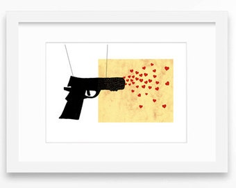 GUN LOVE ILLUSTRATION Affiche Love Print Bansky Drawing Pop Art Home Decor Print