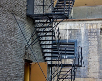 Chicago Art Print, Chicago Photo, Architecture Photography, Fire Escape, Urban Inspired Art, Fire Escape, Gold, Yellow Door, Warm and Cool
