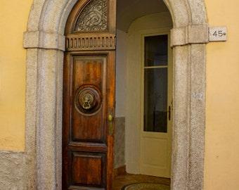Italy Fine Art Print, Bellagio Doorway, Lake Como Italy, Italian Architecture, Yellow Stucco Building, Arched Door, Lion Door Knocker, Italy