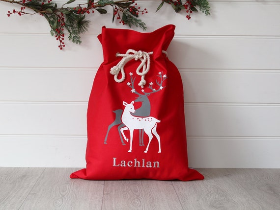 Personalised Santa Sack Red Reindeer