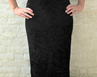 All That Jazz 90s Maxi Dress in Black Velour and Mesh Vintage Sexy Cut Outs Size Medium
