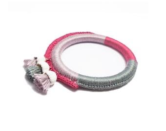 Crochet bracelet, Purple knitted bangle, Tassel jewelry, Crochet summer jewelry