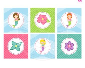Mystical Mermaid Printable Party Favor Tags, Cupake Toppers, Square Printable Mermaid Party Favor Tags, 2 inch Tags, Mermaid Party Printable