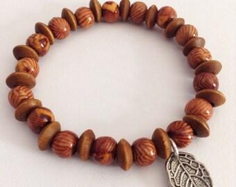 Wooden leaf charm bracelet