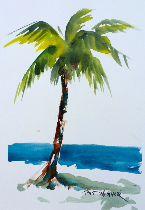 Beach palm tree original watercolor painting for Painting palm trees