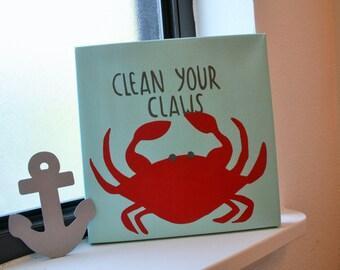 Nautical bathroom decor, ocean decor, wash your hands quote