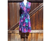 Silk cotton Printed Dress, Lovely Sash Flower Dress, Easy wear womens fashion, easy fit dress