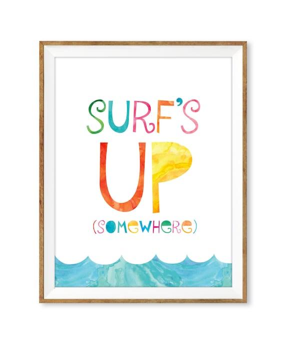 Beach print beach printable surfs up print printable wall for Surf nursery ideas