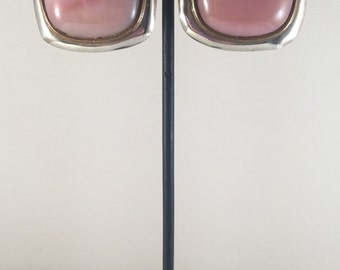 Sterling silver square clip earrings with pink agate.