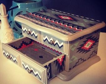 Aztec jewelry box -vintage upcycled