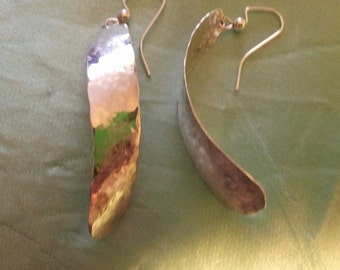 Hammered Silver Freeform Earrings