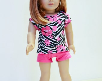 Special Sale American made Girl Doll Clothes, made to fit like American girl doll clothes, Zebra Striped Top, and Shorts/Leggings