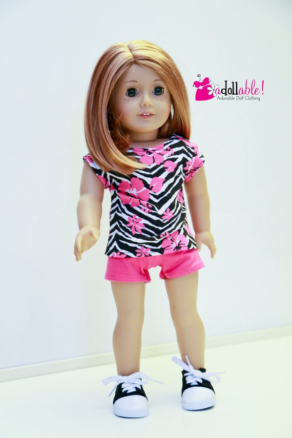 American Girl Doll Clothes, Hot Pink/Black Zebra Striped Knit Top and Hot Pink Shorts