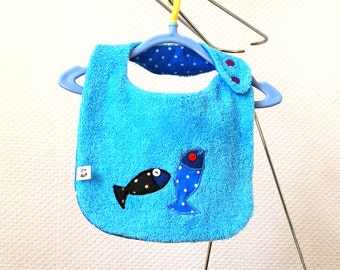 Blue Bib double thickness apply fishes