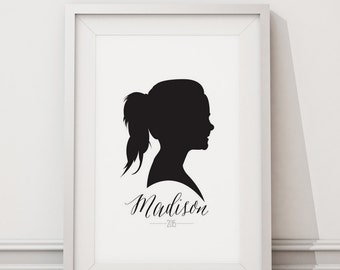 Silhouette Custom Portrait: Black or Gold, Home Decor, Office Decor, Gift for Mom, Gift for Grandmother