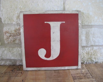 "The Letter ""J"", Hand Made, Hand Painted, Vintage Look Wooden Sign"